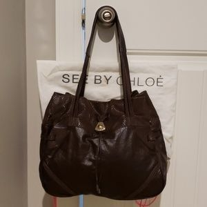 See By Chloe Purse Shoulder Bag Brown Leather